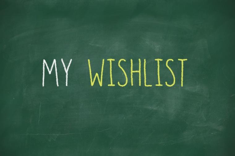 My wishlist handwritten on blackboard